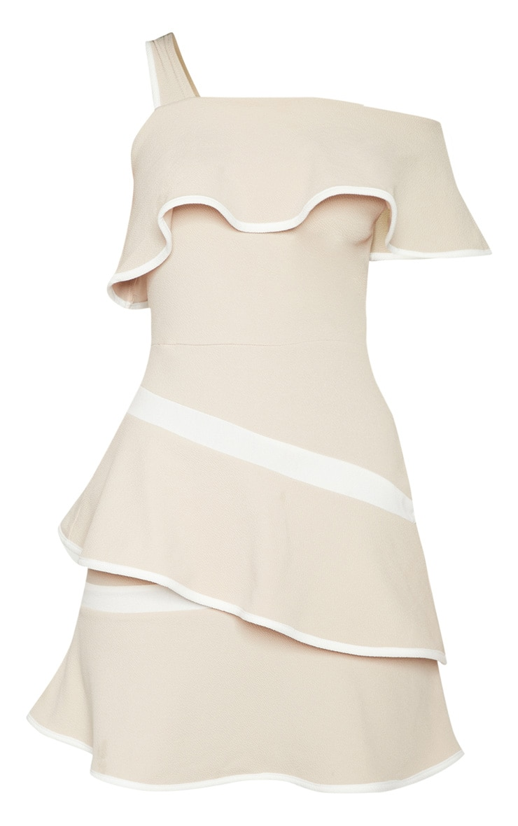 Stone Binding Detail One Shoulder Tiered Skater Dress 3