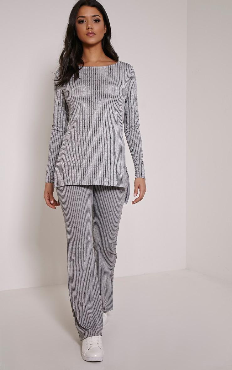 Anna Grey Ribbed Long Sleeve Side Split Top 3