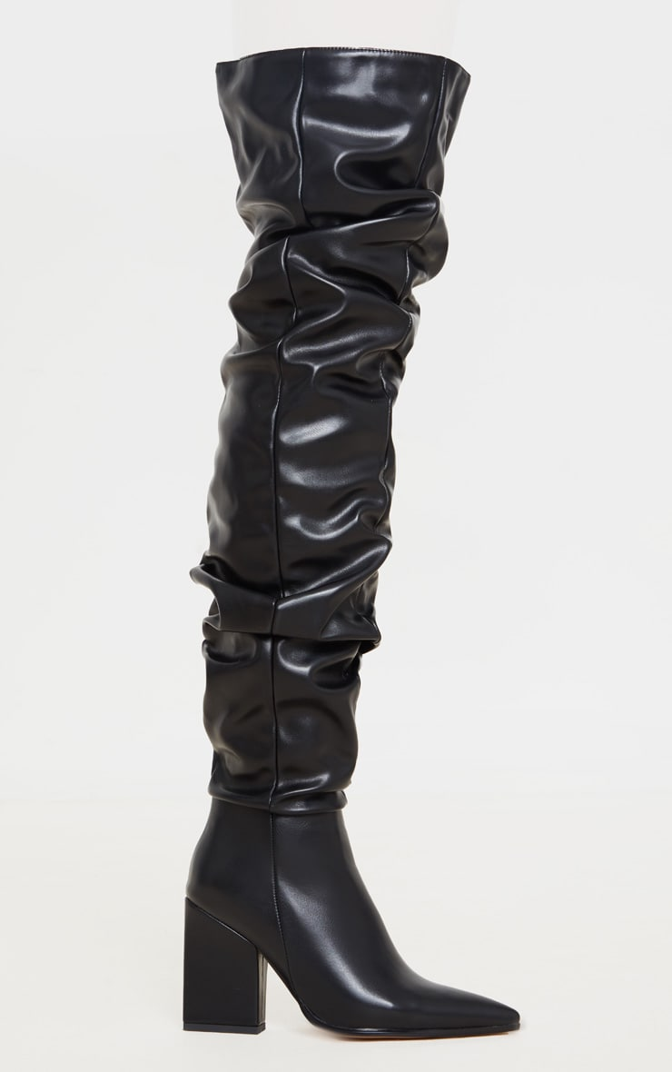 Black Ruched Thigh High Block Heel Boots 4