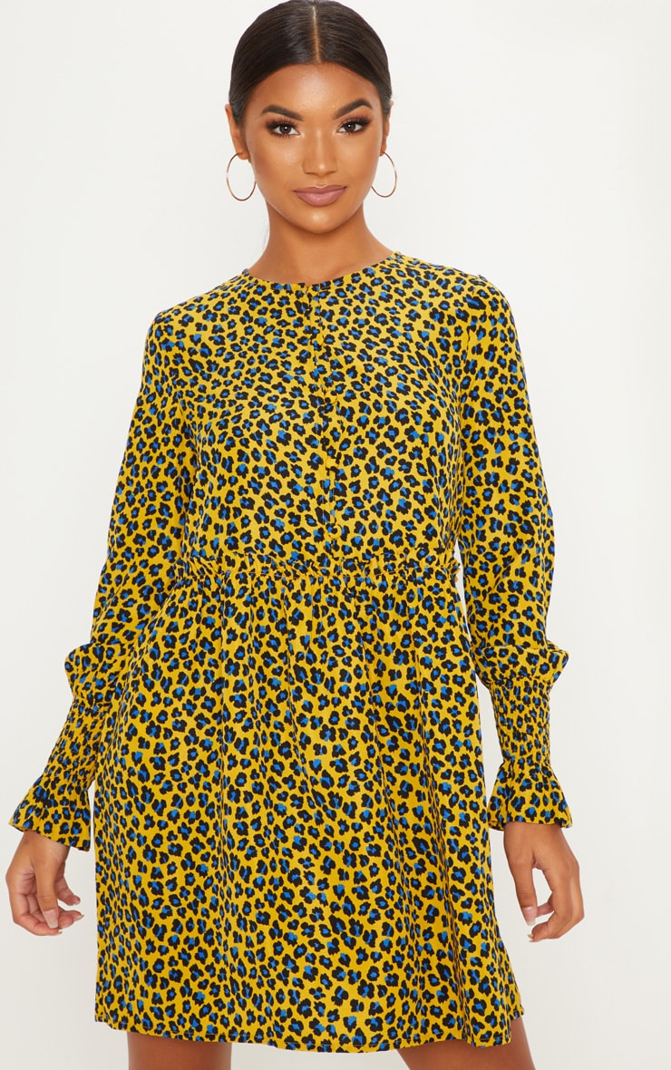 Mustard Leopard Print Covered Button Shirred Detail Smock Dress 4