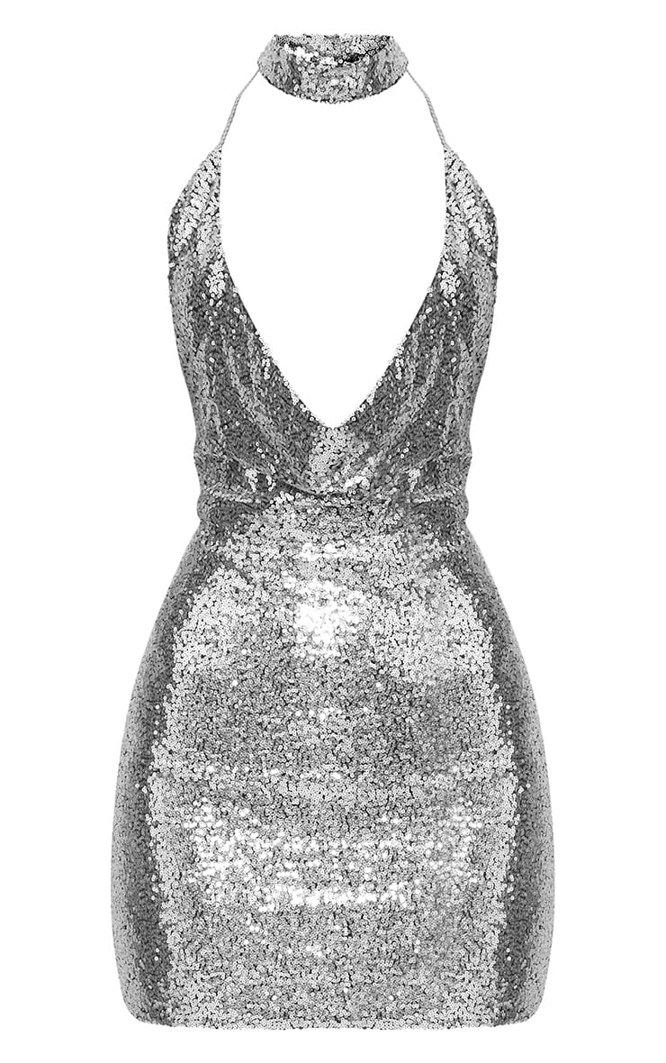 Silver Cowl Neck Chain Detail Bodycon Dress 3