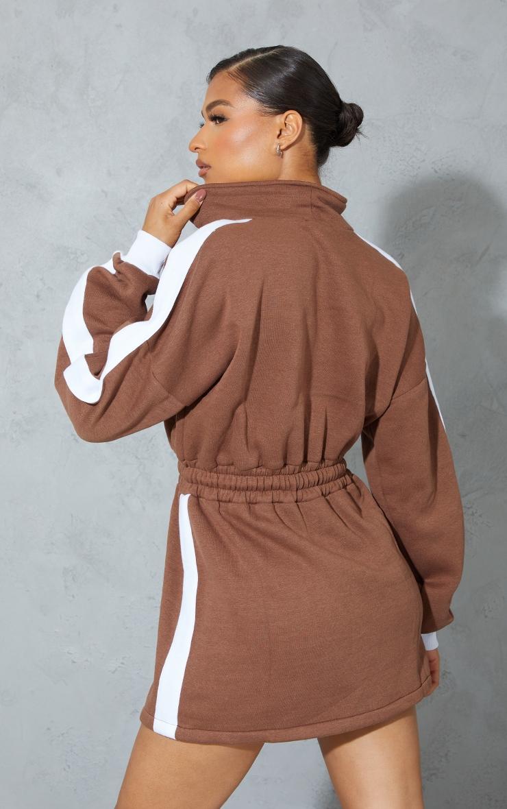 PRETTYLITTLETHING Chocolate Contrast Drawstring Sweat Jumper Dress 2