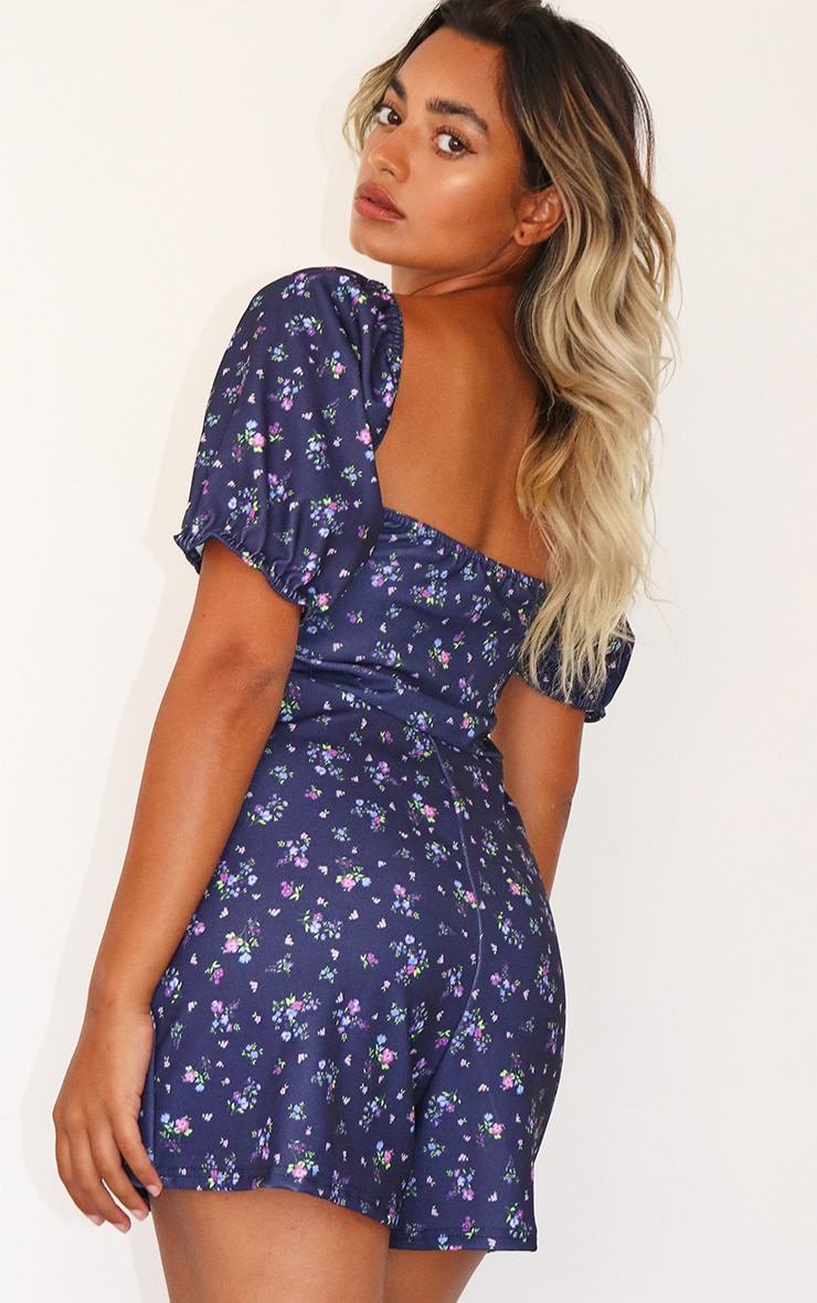 Petite Purple Ditsy Puff Sleeve Playsuit 2