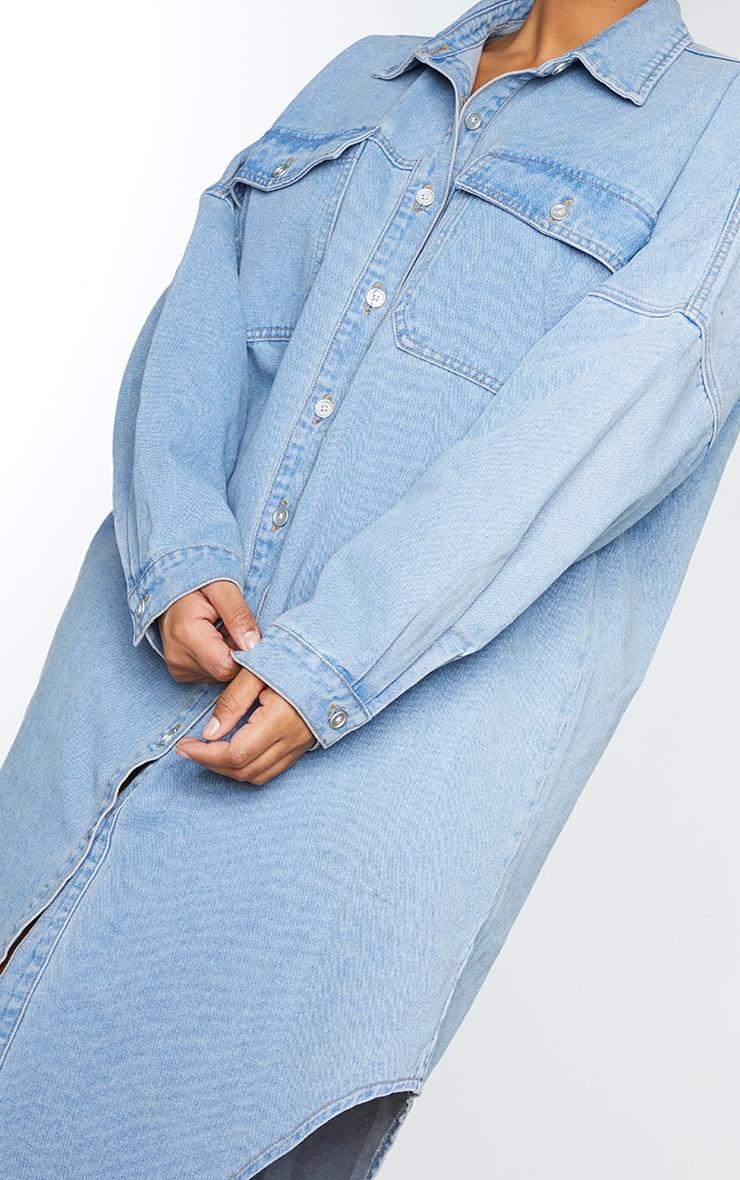 Plus Vintage Wash Longline Oversized Denim Shirt 4