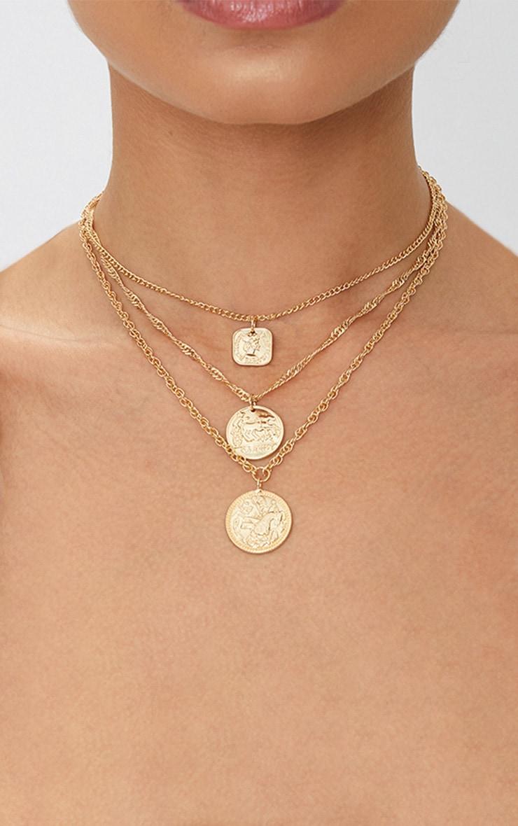 Gold Renaissance Triple Layer Coin Necklace 1