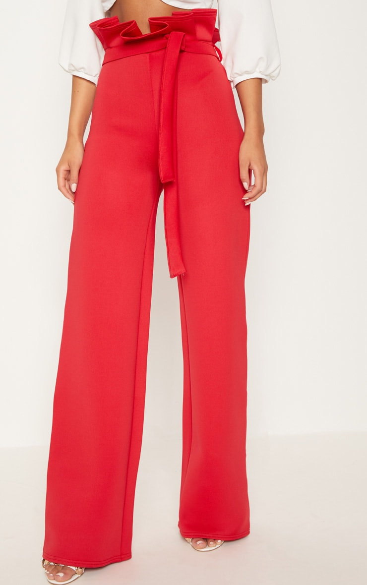 Red Scuba Extreme Paperbag Wide Leg Trouser 2