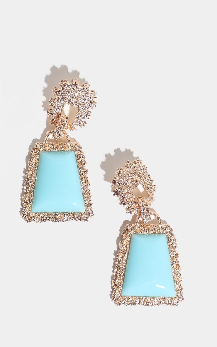 Turquoise Stone Door Knocker Earring 1