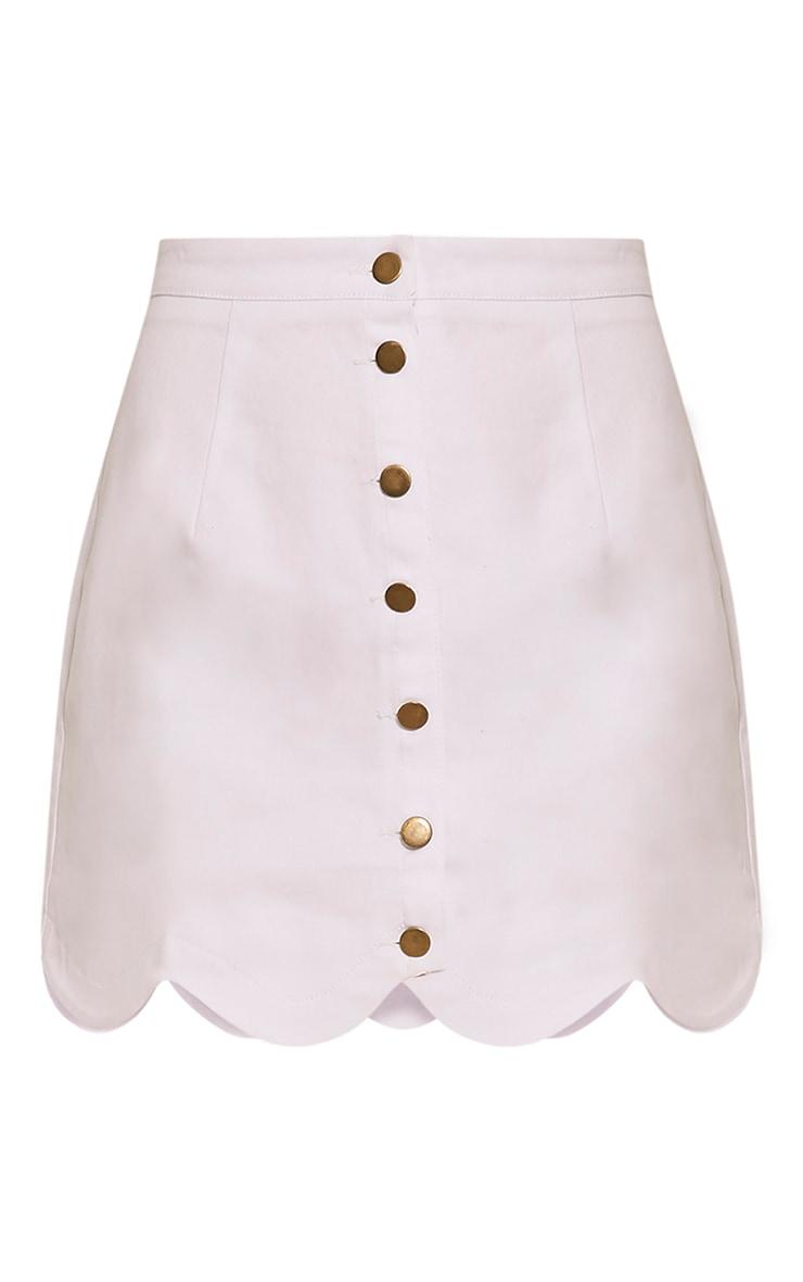 Leigha White Scallop Hem Denim Mini Skirt 3