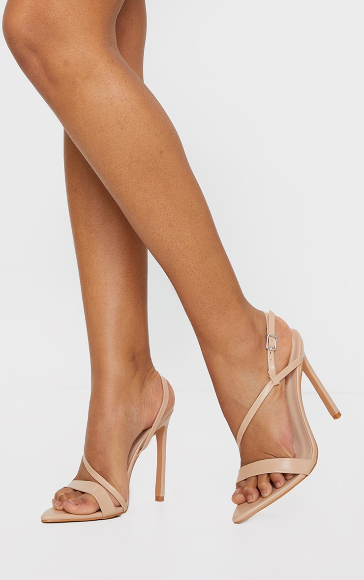 Nude Wide Fit Asymmetric Strap Point Toe Heeled Sandal 1