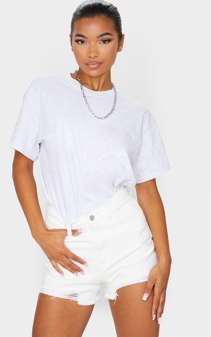 PRETTYLITTLETHING White Ripped Denim Mom Shorts 1