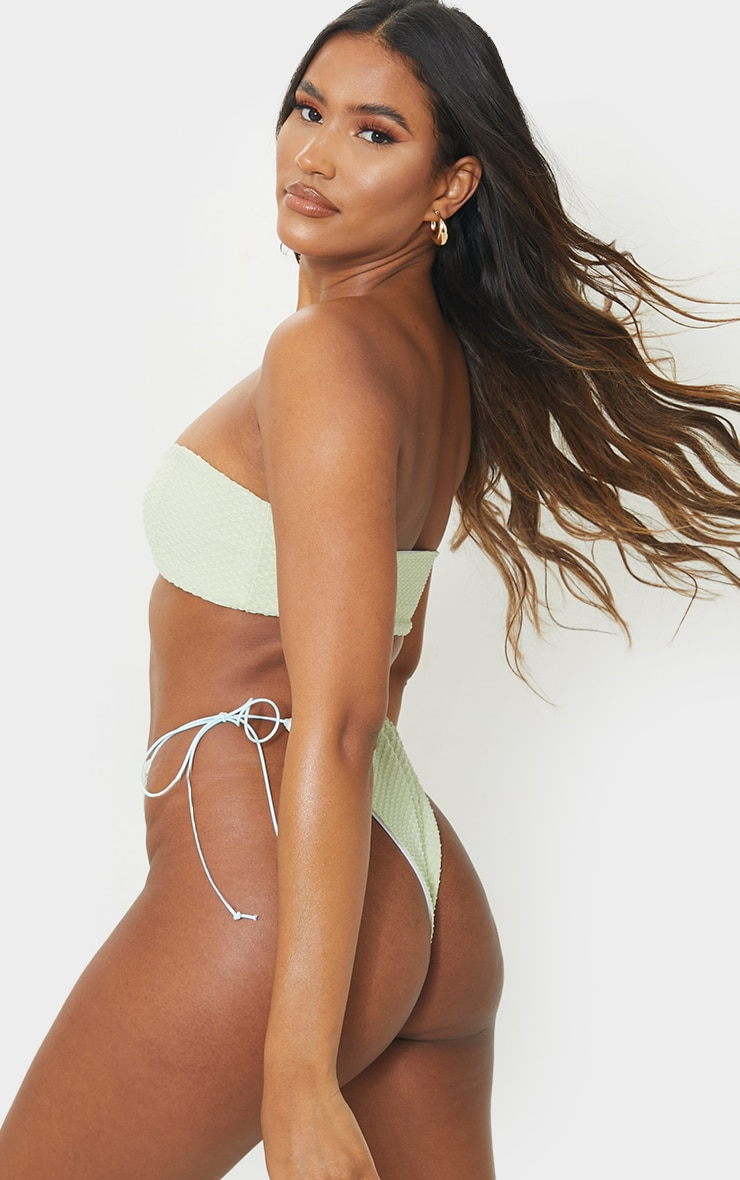 Sage Green Waffle Texture V Wire Bikini Top 2