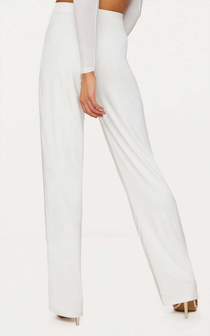 Petite White Slinky Wide Leg Pants 3