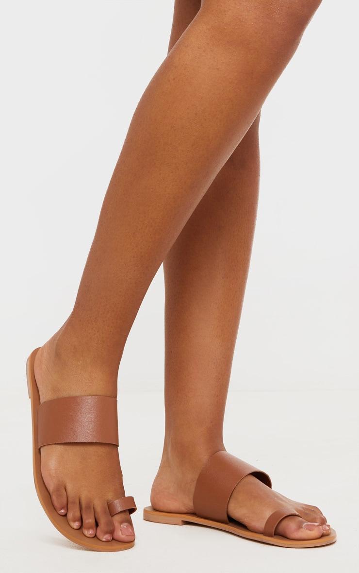 Tan Toe Loop Single Leather Strap Mule Sandal 1