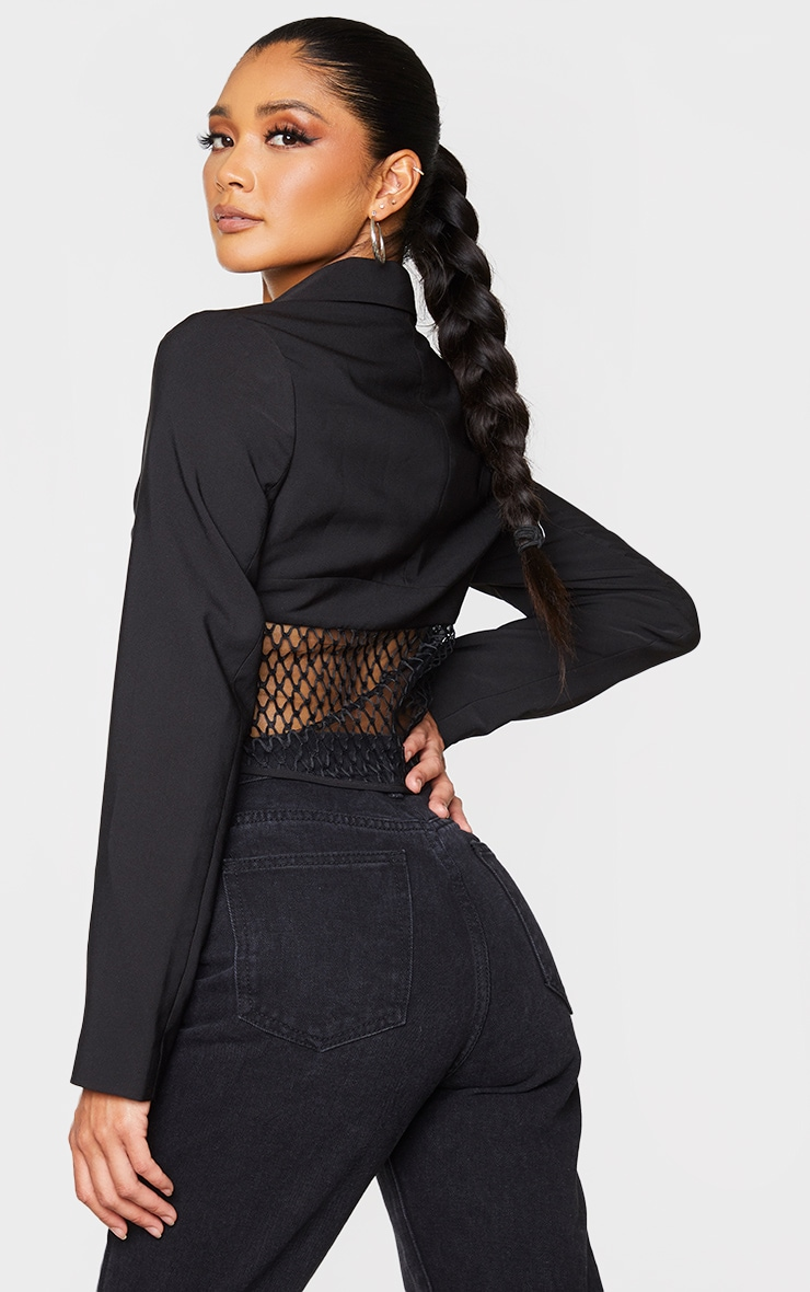 Black Mesh Cut Out Dipped Hem Blazer 2