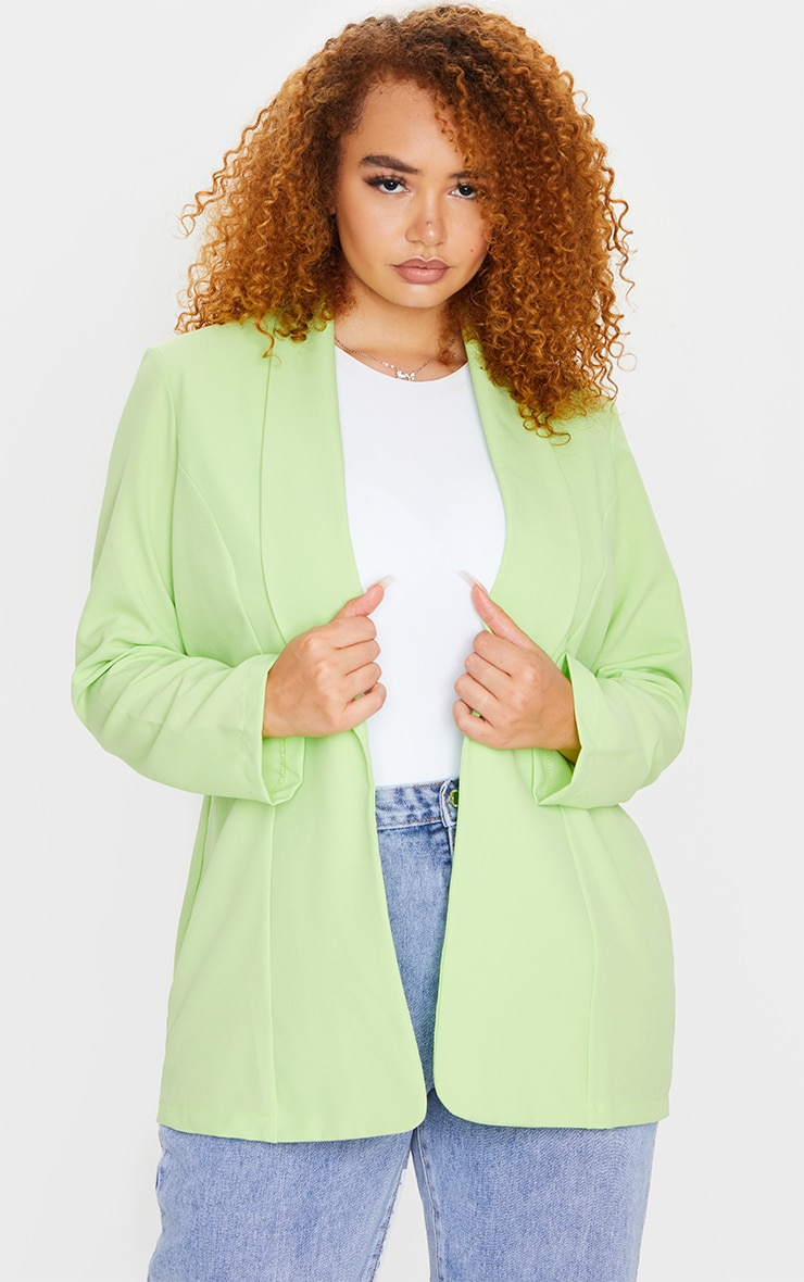 Plus Lime Curved Lapel Woven Longline Blazer 3