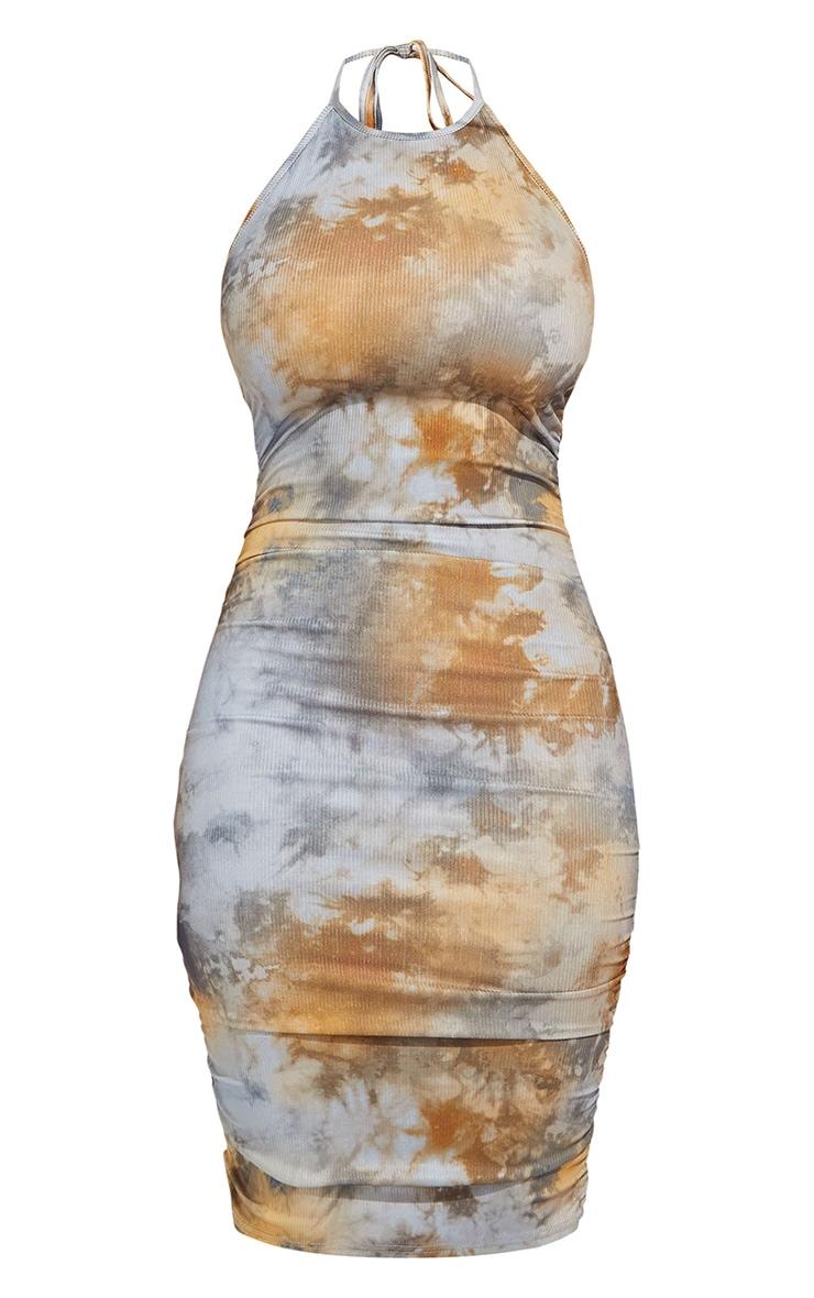 Shape Tan Tie Dye Rib Ruched Side Halterneck Bodycon Dress 5