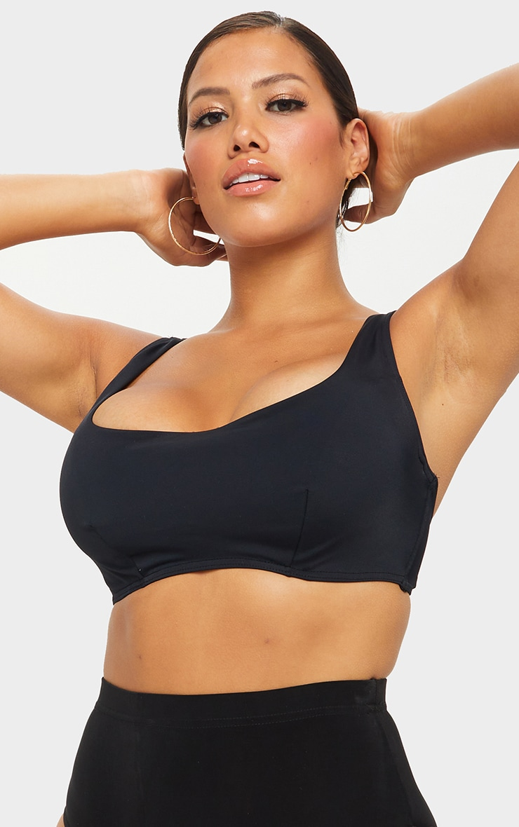 Black Fuller Bust Scoop Neck Bikini Top 4