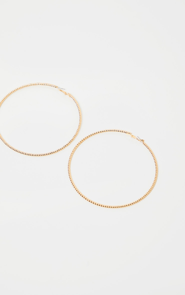 Gold Twist Think= Large Hoop Earrings 2