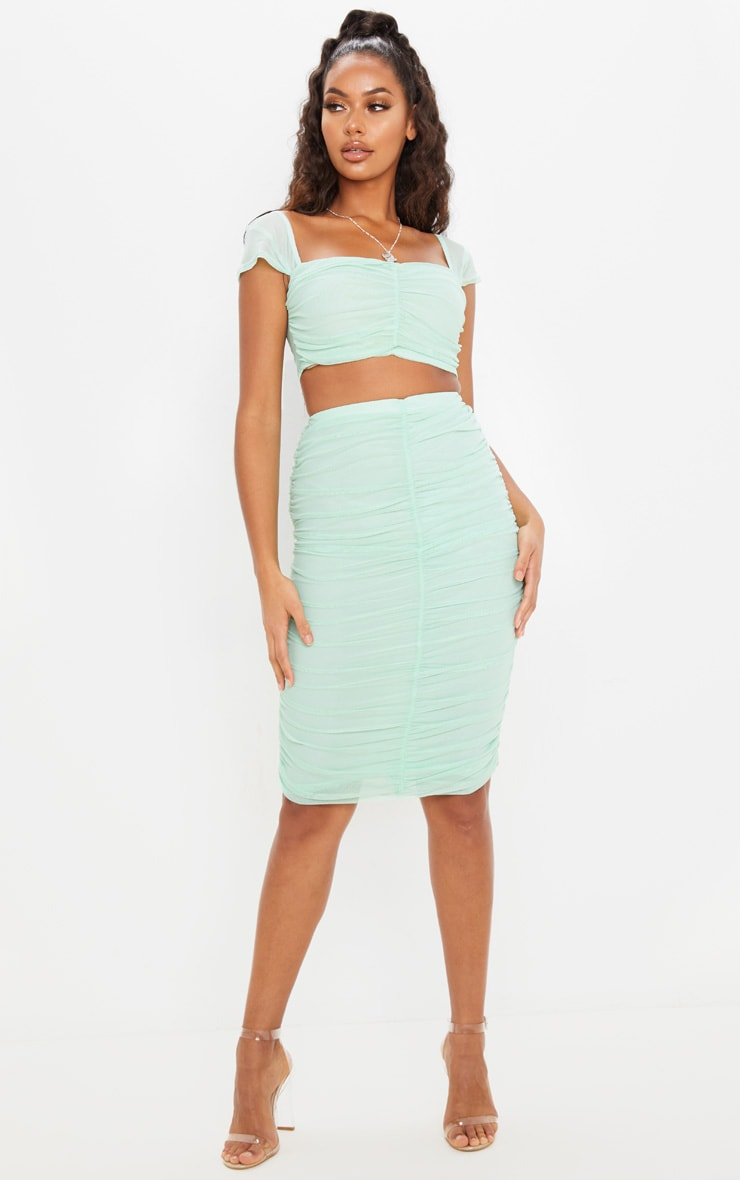 Mint Mesh Ruched Front Crop Top 4