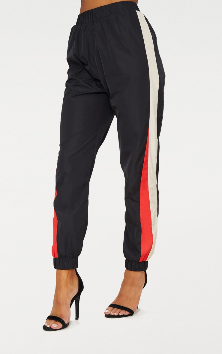 Black Stripe Shell Tracksuit Track Pants 2