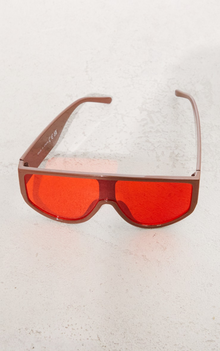 Brown with Red Lens Overszied Visor Sunglasses 3