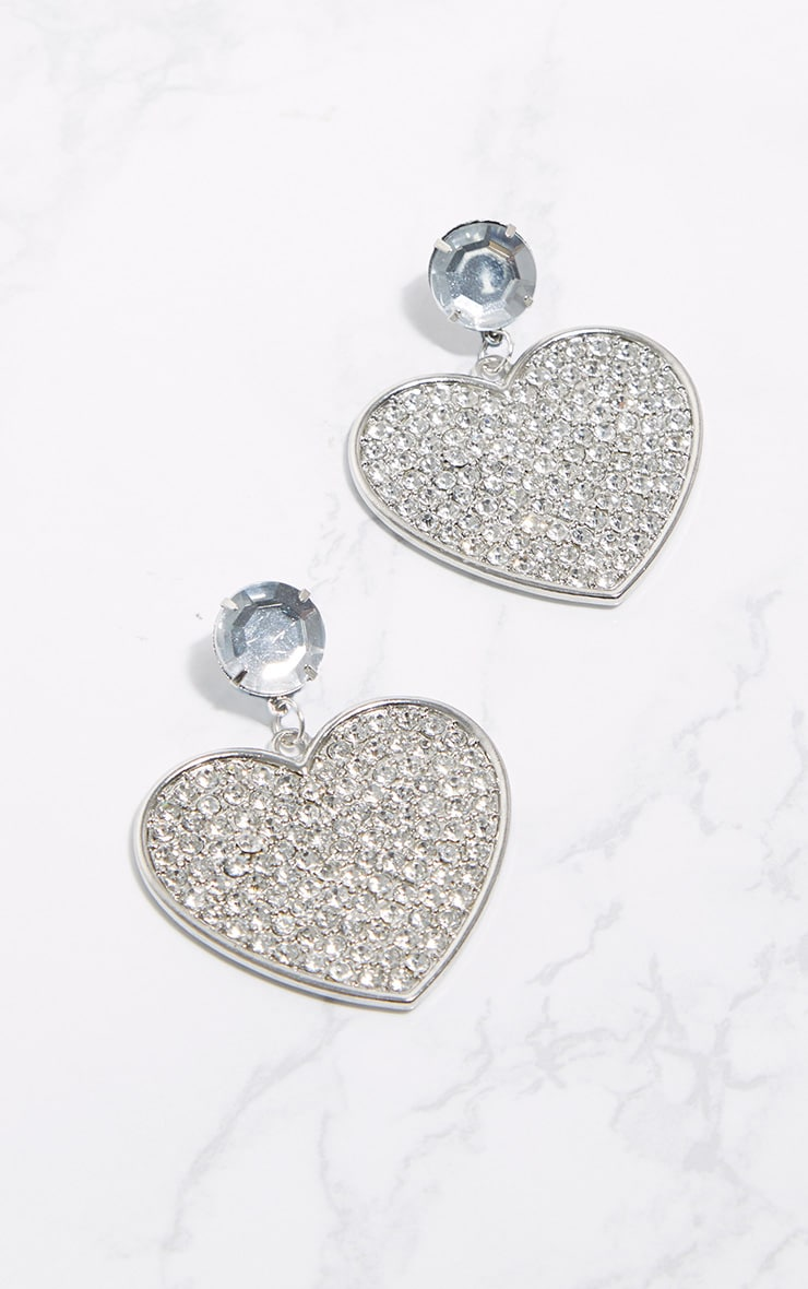 Silver Statement Jewel Heart Earrings 2