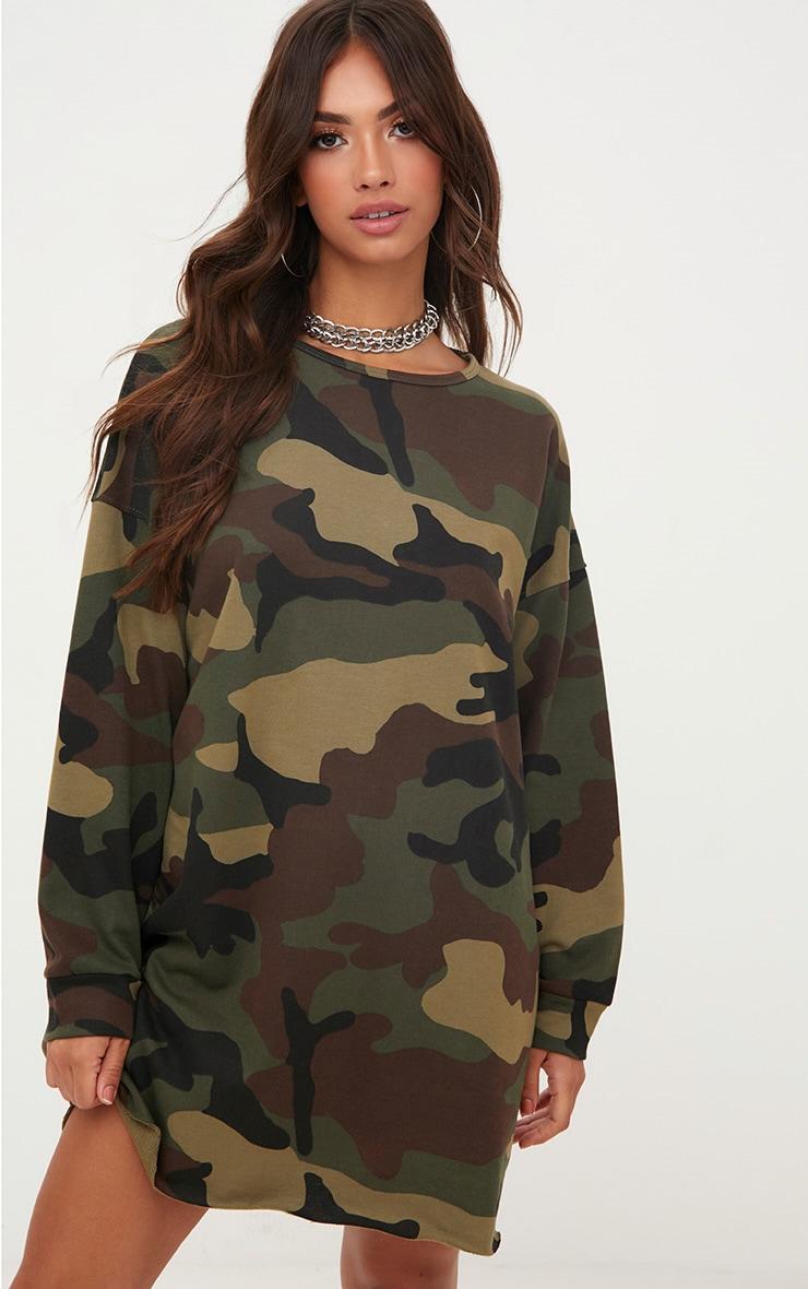 Khaki Camo Loop Back Sweater Dress 1