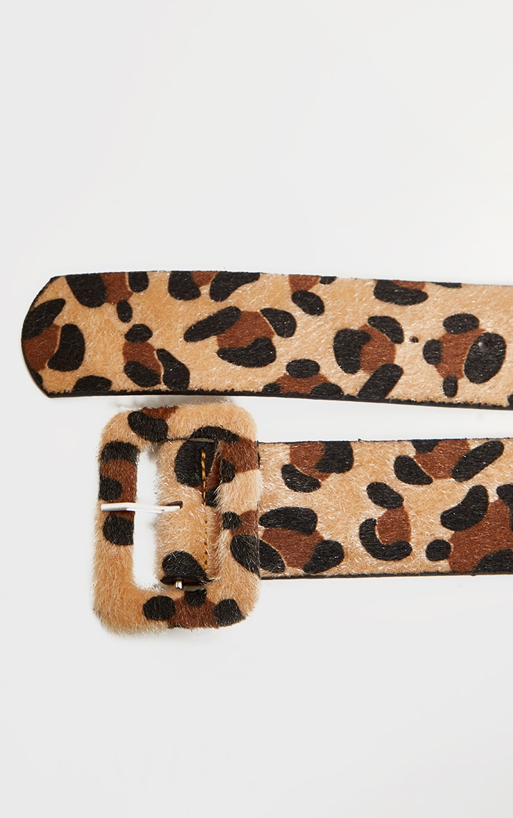 Leopard Faux Pony Hair Covered Buckle Belt 4