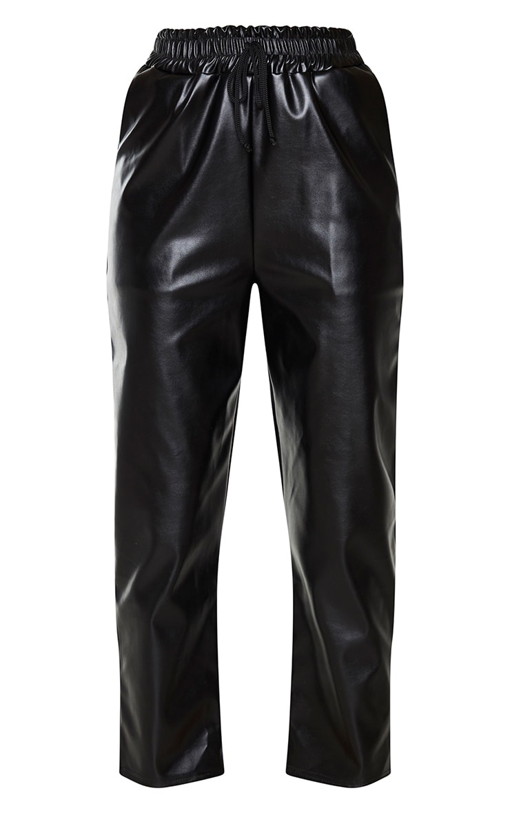 Black Faux Leather Crop Skinny Trousers 5