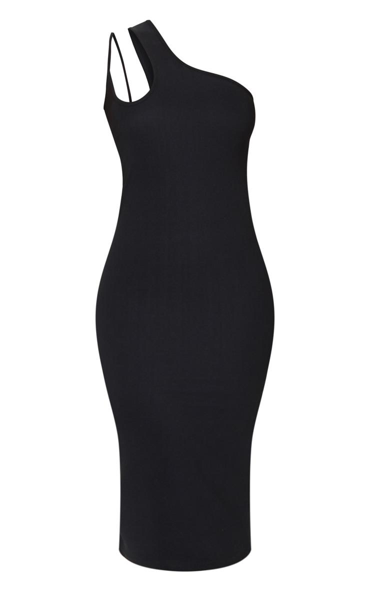 Black Bandage Rib Asymmetric One Shoulder Midi Dress 5