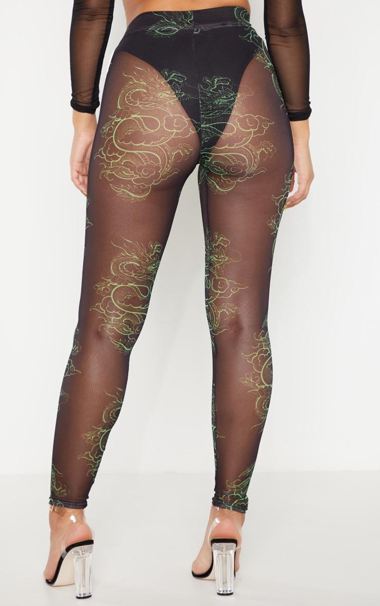 Neon Green Dragon Print Mesh Legging 4