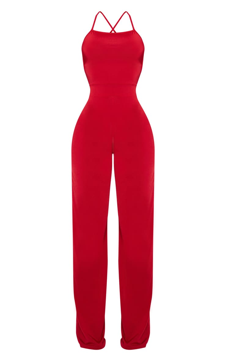 Shape Red Slinky Strappy Back Wide Leg Jumpsuit 3