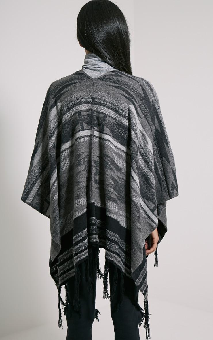 Deni Grey Tribal Knitted Tassel Poncho 2