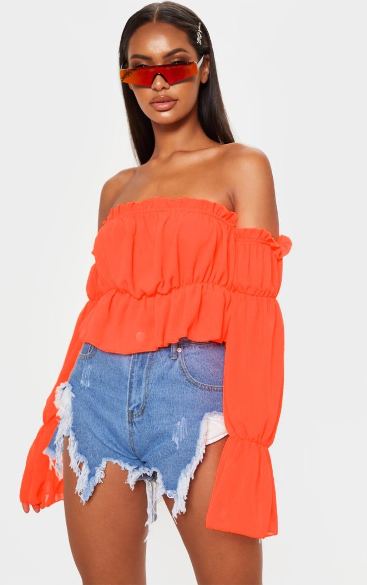 Neon Orange Woven Ruffle Bardot Flared Sleeve Blouse 1