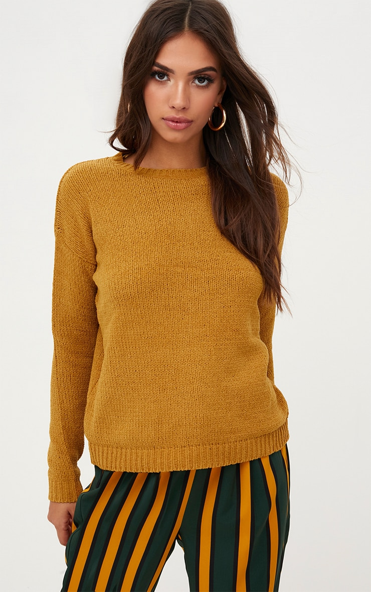 Ochre Chenille Loose Fit Jumper 1