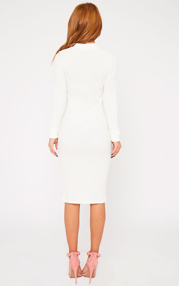 Kiko Cream Ribbed Long Sleeve Midi Dress 2