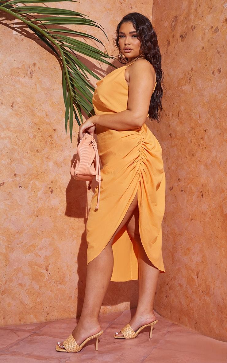 Plus Orange Woven Cowl Neck Midi Dress 3