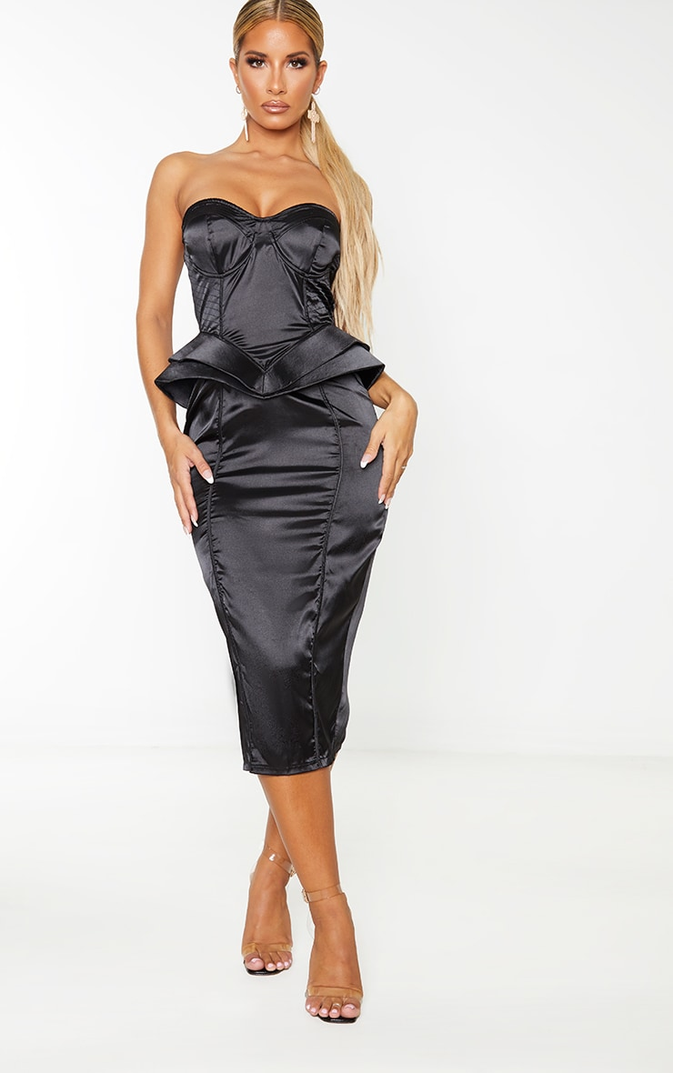 Black Satin Corset Structured Peplum Midi Dress 1