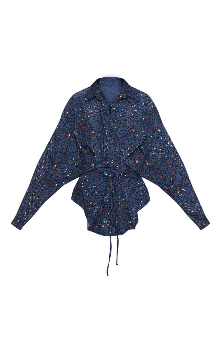 Navy Multi Leopard Corset Detail Oversized Shirt 3