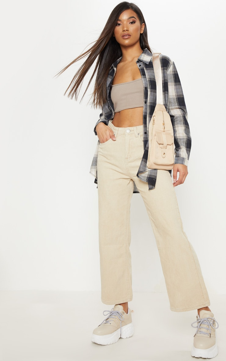 Stone Button Through Wide Leg Cropped Jeans  1