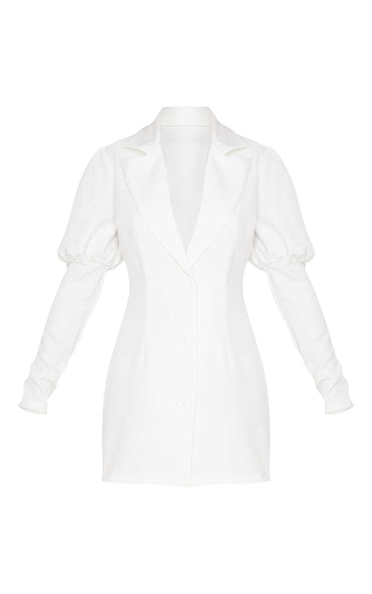 Petite White Puff Sleeve Fitted Blazer Dress 3