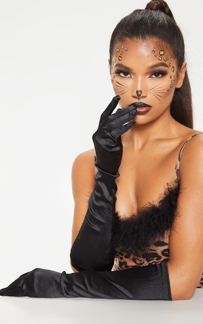 Black Plain Satin Long Gloves