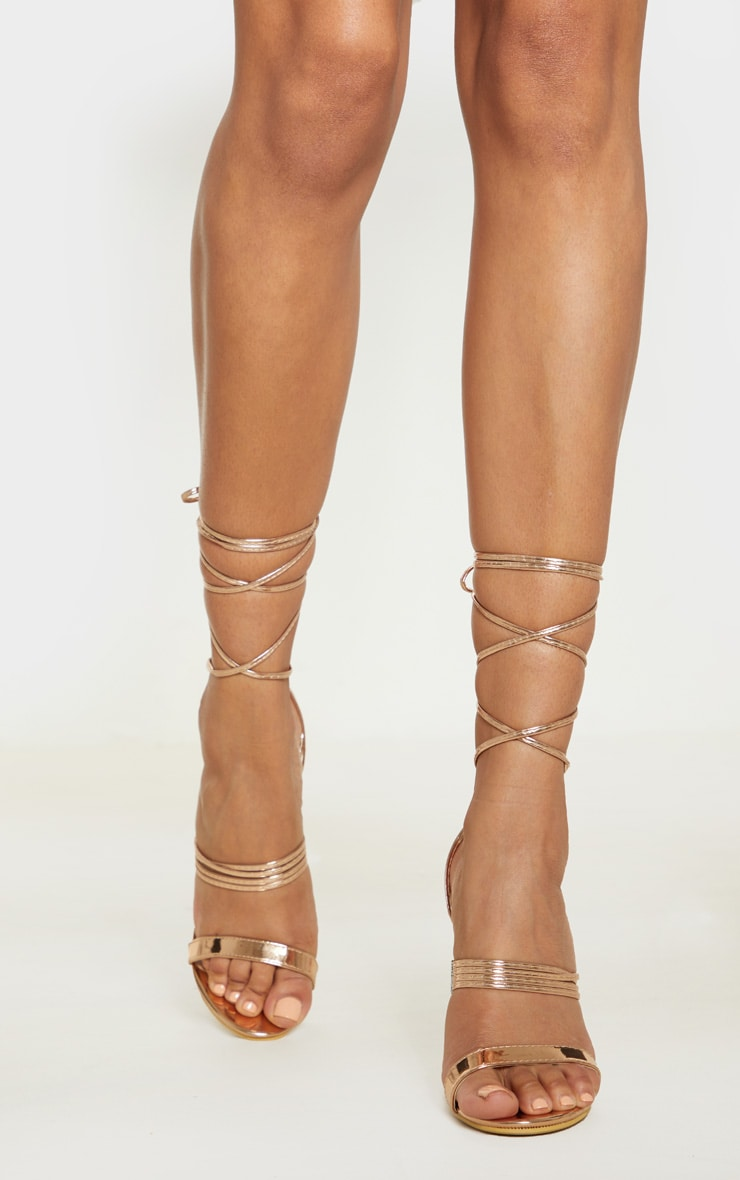 34ade839544 Rose Gold Thin Strappy Lace Up Heels