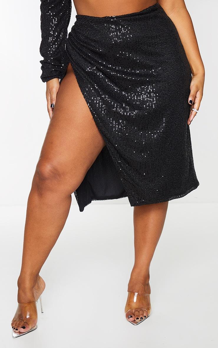 Plus Black Sequin Ruched Side Split Midi Skirt 2