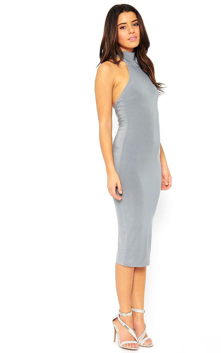 Monroe Grey High Neck Midi Dress 4