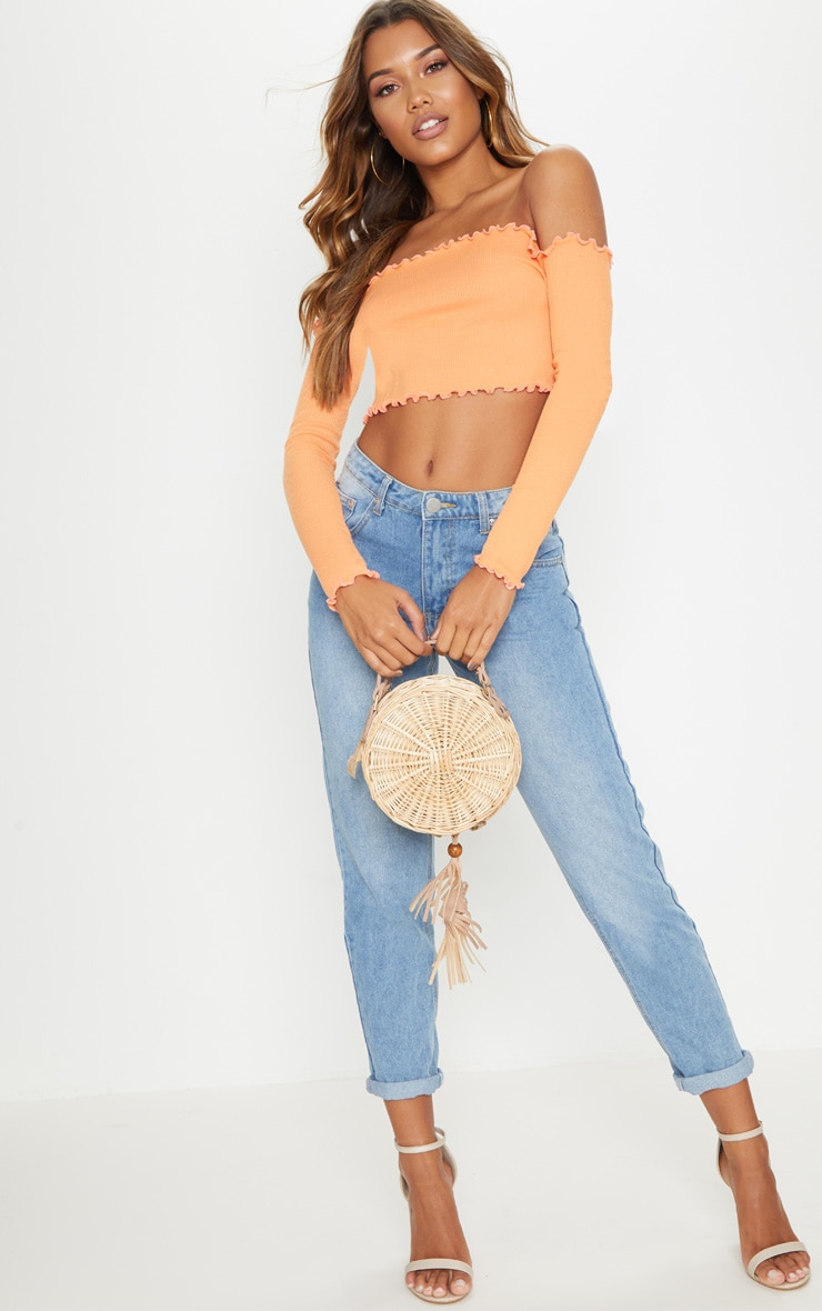 Tangerine Frill Edge Crop Top  4