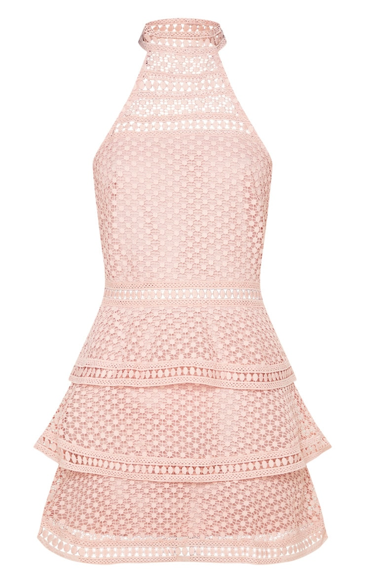 Dusty Pink Lace Panel Tiered Bodycon Dress 3