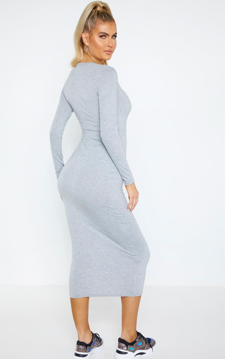 Tall Grey Marl Long Sleeve Jersey Maxi Dress 2