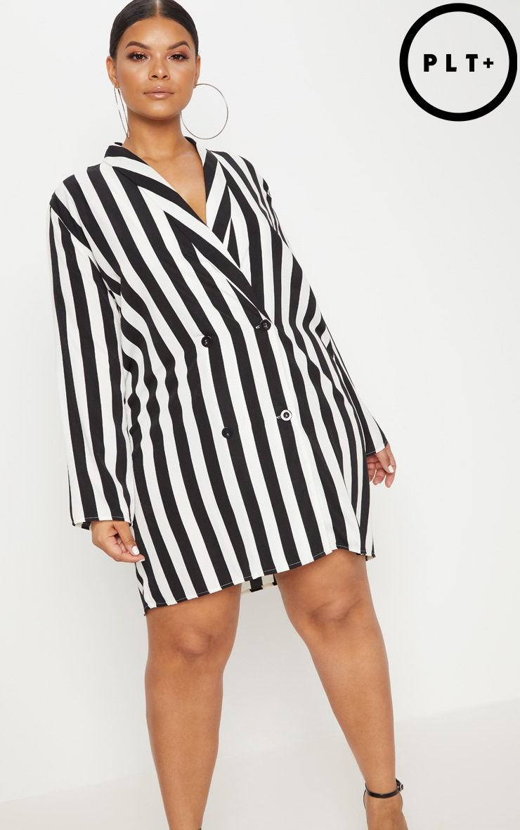 Plus  Black Oversized Striped Blazer Dress 1