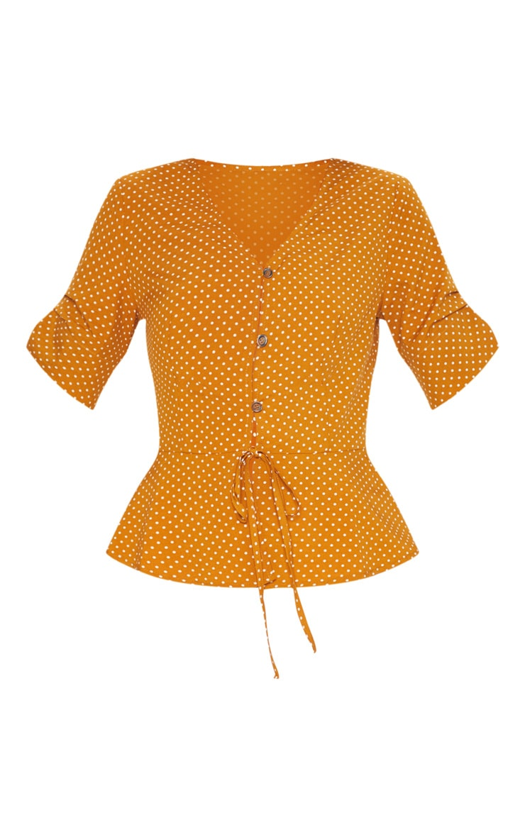 Mustard Polka Dot Button Front Blouse 3